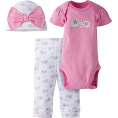 Here comes warmer weather fun! This cute girls' 3-piece set includes a matching  Onesies® brand short sleeve bodysuit, cap, and pants. Picot trim adds to the look. Mom and little girl will love the ribbed leg openings for a snug fit and the expandable lap shoulder neckline for easy dressing. Make a great gift!