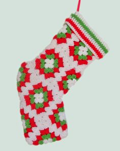Stocking, Christmas, granny squares, red, white, spring green, holiday, Christmas gifts, handmade crochet motifs. This is such a pretty holiday