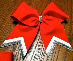 Cheerleading Bow- blue main,white,silver or black