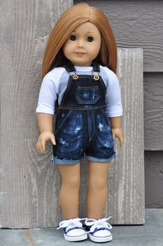Overalls stretch denim shortalls with stylish, destructed effect, by LoriLizGirlsandDolls on Etsy  $30.00