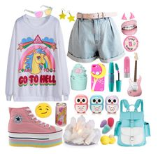 Bright by blatantluminary on Polyvore featuring polyvore, fashion, style, Grafea, Usagi, Forever 21, Eos, Westward Leaning, Maybelline and Kreepsville 666