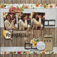 Tennessee Moonshine : Gallery : A Cherry On Top Scrapbook Travel Album, 8x8 Scrapbook Layouts, Baby Scrapbook Pages, Project Life Scrapbook, Scrapbook Sketches, Picture Layouts, Page Maps, Calendar Pages, Grateful Heart