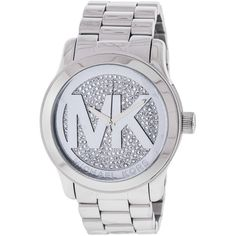 Michael Kors Women's MK5544 Runway Silver Dial Watch ($204) ❤ liked on Polyvore featuring jewelry, watches, silver, snap button jewelry, stainless steel watches, stainless steel jewellery, water resistant watches and stainless steel wrist watch