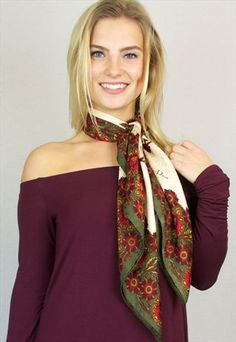 Silk scarf tied at neck