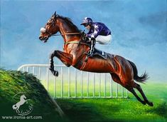 """Sunday = raceday """"Barely Legal""""  12x16""""  commission. . . 🐎👌🐎 #ironiaart #painting #horses #equineart #fineart #horses #dogs…"""