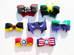 Avengers bows!! Hey, I found this really awesome Etsy listing at https://www.etsy.com/listing/162632350/the-avengers-felt-hair-bows-choose-1