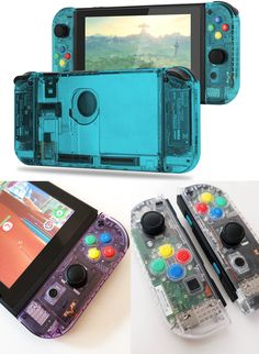 Nintendo Switch with Neon Blue and Neon Red Joy-Con - Nintendo Switch Console - Ideas of Nintendo Switch Console - Clear Switch Joy-Con Shells Switch Nintendo Switch Nintendo for sales Clear Switch Joy-Con Shells Nintendo 64, Nintendo Switch Games, Nintendo Consoles, Games Consoles, Game Boy, Mario Bros, Playstation, Xbox, Nintendo Switch Accessories