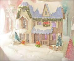 Shabby Xmas Chic Glitter Lit Putz Village Home Vintage Blue House Lights