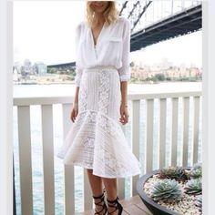 midi skirt mermaid white crochet blouse
