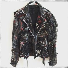 Rocker jacket from Chad Cherry Clothing. Rocker jacket from Chad Cherry Clothing. Punk Mode, Mode Rock, Black Biker Jacket, Punk Jackets, Battle Jacket, Studded Jacket, Mein Style, Vegan Leather Jacket, Punk Outfits