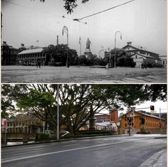 c.1900 & 2015 view of Queens Square as seen from the St James Road boundary of Hyde Park. Hyde Park Barracks can be seen on the right, the colonnade of The Mint can be seen on the left with the Sydney Hospital Group(1800s) to the far left. The Statue of Queen Victoria (1888) can be seen in the centre. AUSTRALIA