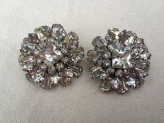 1940s Rhinestone clip earrings by thejunkdiva on Etsy, $24.95