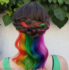 Hidden Rainbow Hair - Color combinations and styling ideas for the cool hair color trend, Young Girls Hairstyles, Pretty Hairstyles, Braided Hairstyles, Hairstyle Ideas, Hidden Rainbow Hair, Short Brunette Hair, Underlights Hair, Corte Y Color, Cool Hair Color