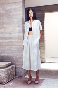 Culottes, open button-up and bra top paired with a chunky heel. Rachel Comey Resort 2015.