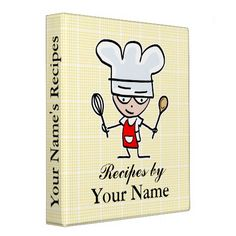 Personalized recipe binder with chef cook cartoon