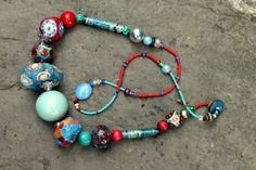 Fantasy pop art boho colorful summer necklace. Made from paper mache, paper beads, polymer clay beads and ceramic recycled beads. Hippie boho ethnic