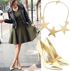 Go hollywood style with this amazing combination of #gold and #khaki selected by the #TrovaModa team #hollywood #hollywoodwalkoffame #style #summer #dress #accessories #heels #decolletes #shoes #fashion #fashionblog #sunnyday #spring #sparkle #girl #moda #love #outfit #happy #glam