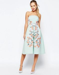 Image 1 of ASOS SALON Floral Embroidered Bandeau Midi Prom Dress