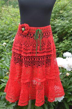 Skirt Red poppy by DominikaSamara on Etsy