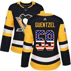 e833eb518 Adidas Pittsburgh Penguins  59 Women s Jake Guentzel Authentic Black USA  Flag Fashion NHL Jersey