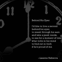 Behind His Eyes, a poem by Leanne Rebecca. Read more original poetry at shesinprison.com
