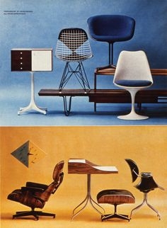 A page from a Playboy magazine article featuring Eames, Nelson and Saarinen furniture. Image credit: From The Story of Eames Furniture, Copyright Gestalten.