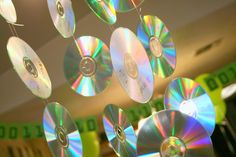 Hanging CDs for computer lab decor
