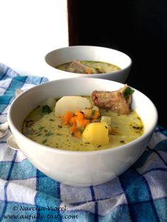Ciorba de cartofi cu afumatura si tarhon. Tarragon potato soup with smoked pork meat. Delicious!  http://awfully-tasty.com/2014/08/28/ciorba-de-cartofi-afumatura-si-tarhon/