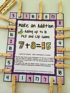 Could make a version for 'Friends of Ten'. Previous pinned: FREEBIE - An addition game with a difference. Use clothespins to play - Addition Pick and Clip Math Games Freebies by Games 4 Learning Math For Kids, Fun Math, Math Games, Math Activities, Therapy Activities, Teaching Addition, Addition Games, Math Addition, Math Classroom