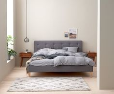 Jysk Millinge bed and Hokksund night stand Bed Frame, The Hamptons, Nightstand, Living Spaces, New Homes, Bedroom, House, Inspiration, Furniture