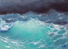 """435 - """"Pacific Ocean"""",  5""""x 7"""" original canvas giclee print"""