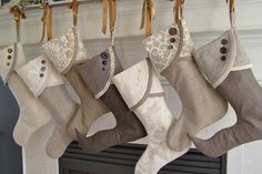 use a curtain rod to hand stockings so you don't have to find matching hangers year after year as your family grows