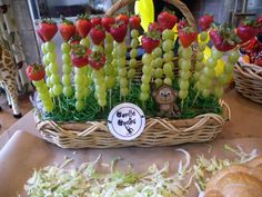 gorilla grapes (appetisers) for jungle party.  Would work great with the Fruit of the Spirit