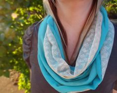 Vintage lace & aqua blue infinity scarf by PaleDesign on Etsy, $29.00