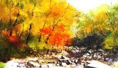 수채화/풍경화/가을계곡