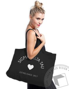 Sigma Delta Tau Heart Tote by ABD BlockBuy! Just $15 each plus shipping until 3/23 | Adam Block Design | Custom Greek Apparel & Sorority Clothes |www.adamblockdesign.com