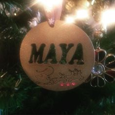 Personalised Christmas Decorations. DM for orders 5.00 each (P&P) #bluebellbows #handmade #lasercut #forsale #children #kids #christmas #crafts #christmas2015 #christmastree #christmaspresent #santa #fatherchristmas #personalised #tree #festive #pretty #present #gift #gifttags #gold by bluebellbowsltd