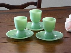 Fire King Jadeite Double Egg Cups With Saucers, Three Double Jadeite Egg Cups w/Saucers, Jadeite Egg Cups With Saucers (IB)