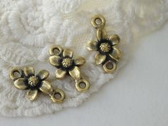 6- Flower Double Connector Ring Charms Antique Gold Two Rings Floral Connecting Charm Inv0152 by BuyDiy on Etsy