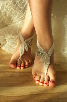 45 stylish and adorable barefoot beach wedding shoes ideas make your bridal look even more fabulous; beach wedding sandals for bride and shoes for beach. Beach Wedding Shoes, Beach Shoes, Bridal Shoes, Wedding Jewelry, Beach Weddings, Beach Sandals, Pies Sexy, Barefoot Beach, Barefoot Wedding