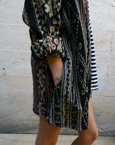 ikat jacket #fall #fashion #street #style #printed #jacket #striped #dress #pattern #play #proportion