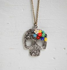 Day of the Dead SUGAR SKULL Flower Pendant Glass Flower Beads Silver Skull Spiritual Folk Art Mexican Skeleton