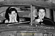 Vintage-inspired engagement shoot at a junk yard. Love this! #junk #photography #engagement