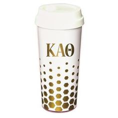 Chi Omega - Tumbler White with Gold Letters: But first, coffee! She needs this bright, trendy Chi Omega coffee tumbler to keep her buzz going fror th Alpha Epsilon Phi, Zeta Phi Beta, Alpha Sigma Alpha, Delta Gamma, Sorority Outfits, Sorority Gifts, Greek Gifts, Coffee Tumbler, Chi Omega