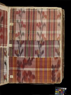 Swatch book Place of origin: Lyon, France (made) Date: ca. 1763-1764 (made) Artist/Maker: Unknown (production) Materials and Techniques: Silk, taffeta, linen, brocaded, leather bound, paper and ink, sealing wax Credit Line: Acquired with the help of Marks and Spencer Ltd and the Worshipful Company of Weavers Museum number: T.373-1972