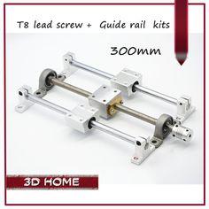 3D printer Guide rail parts -T8 Lead Screw 300mm + Optical axis 300mm+KP08 bearing bracket + screw nut housing mounting bracket