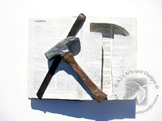 Faux Bible and Rock Hammer created with Creative Paperclay® and PLAID® Paints