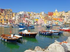 The 50 Most Beautiful Places in Europe.  This one is Procida, a tiny island off the coast of Naples, Italy.  Visit if you can.