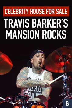 All the small things add up to a spectacular celebrity house on the market. Check out the drummer's mansion here! Photo credit: C Flanigan/Getty Images Travis Barker, All The Small Things, Blink 182, Frugal Tips, Celebrity Houses, Photo Credit, Behind The Scenes, Marketing, Mansions
