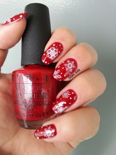 Vinter naglar, christmas nails. OPI all i want for christmas is opi and stamps from Bundle mosnter.